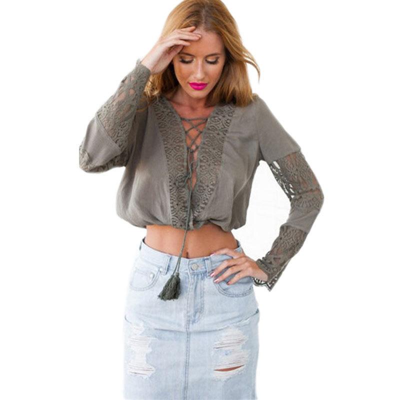 7a5b5107874 Get Quotations · Hollow Lace Long Sleeve Chiffon Blusas Blouse Deep V Shirt  Blusa Feminina Crop Top Summer Style