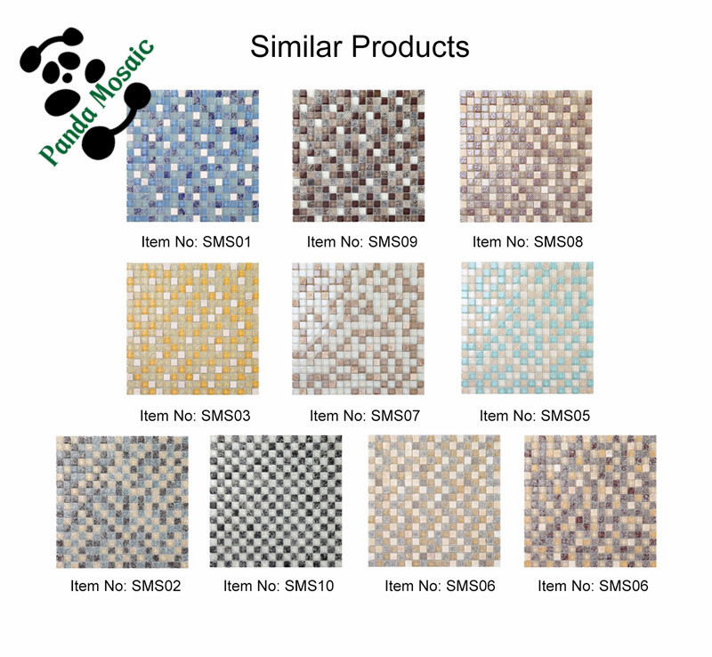 MB SMS08 Premium Mosaic Bathroom Tile Design Glass Mix Stone Mosaic ...