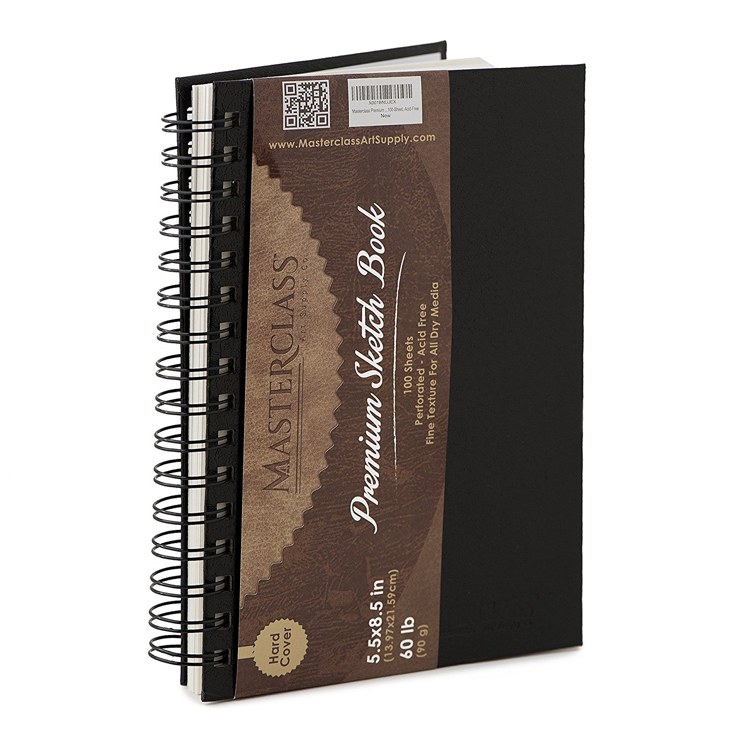 Masterclass Premium 5.5 Inch by 8 Inch Spiral Bound Hardcover Sketchbook, 100-Sheets, Acid-Free, Perfect Sketch Book For Traveling, Durable Cover And Binding Allow Your Drawing Pages To Lay Flat. …