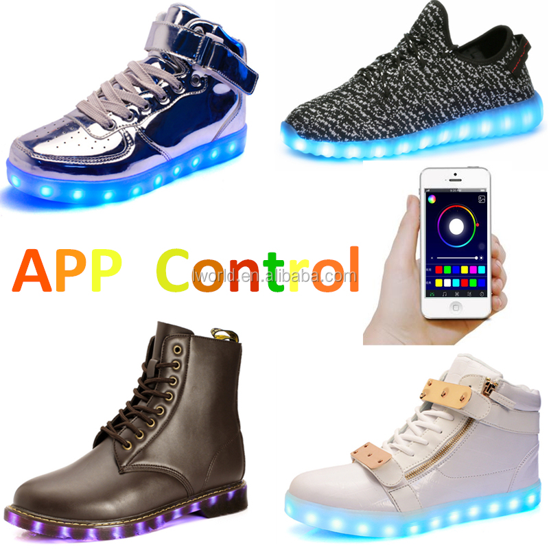 2016 Popular APP bluetooth control led shoes changing with music light up led shoes led kids difference style