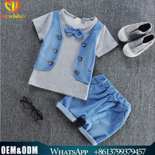 Wholesale Boy Frock New Style Children Clothes Han Edition Fake Two Piece Sets Pure Cotton Short Sleeve Boy Fashion Bow Tie Suit