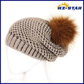 Hzm-14142 ingrosso funny di lana delle donne moda inverno finto beanie  acrilico uncinetto ragazze 2e4fdfb055f7