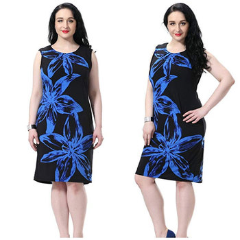 Women\'s Plus Size Lined Floral Printed Sleeveless Dress Fashion Knee Length  Work And Casual Dress With Round Neck Sleeveless - Buy Big Size ...