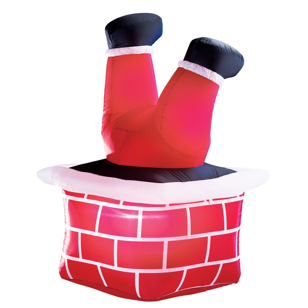 Get Quotations Inflatable Santa Down The Chimney Yard Decor