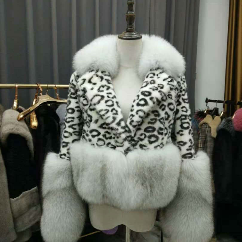 2019 new custom Women <strong>Fashion</strong> <strong>Winter</strong> luxury mink fur leopard <strong>coat</strong> with fox fur collar