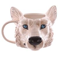 High quality vivid 3D design Ceramic/Porcelain Wolf Mug with custom design