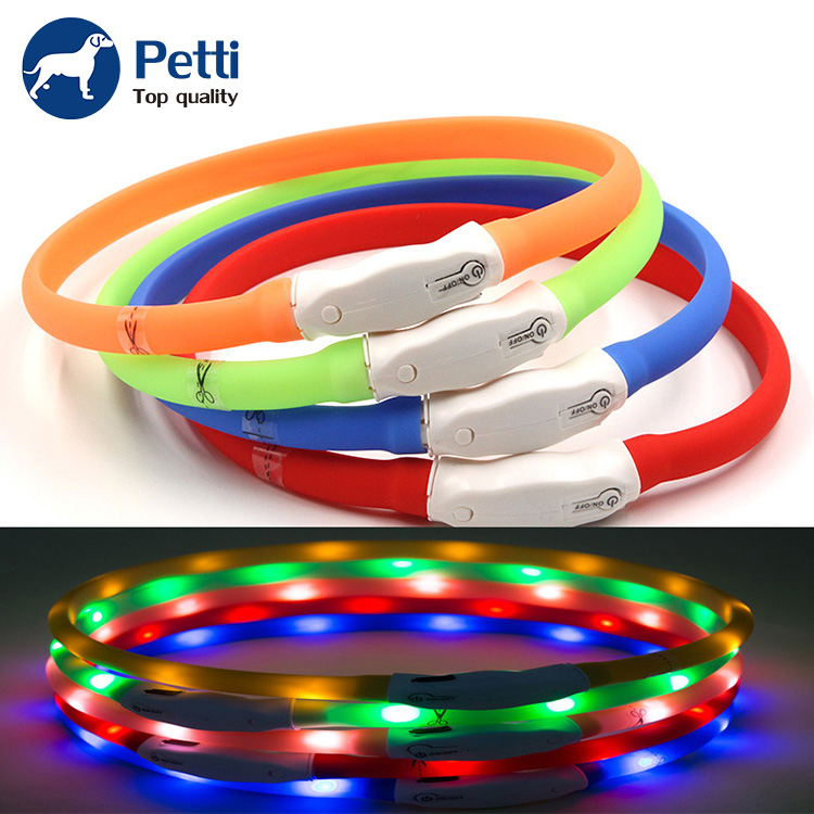New Style Waterproof Adjustable Cut Silicone Soft Usb Rechargeable Led Dog Collar