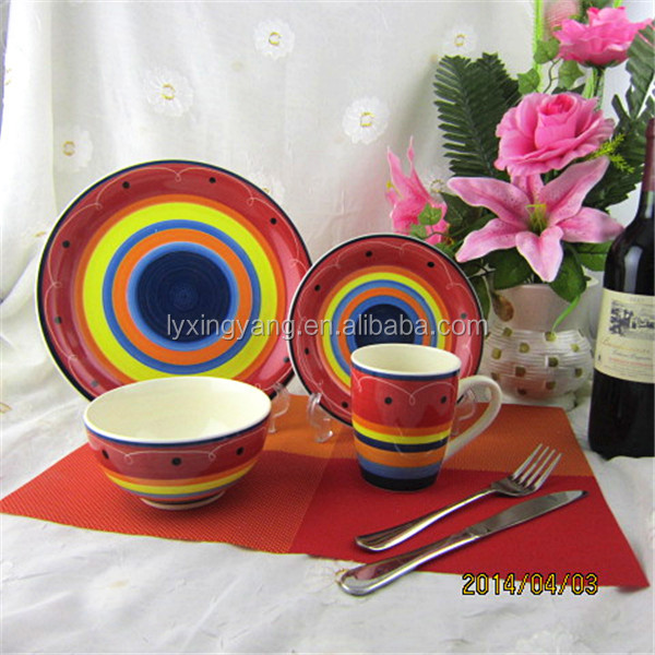 16pcs mesican square striped stoneware dinnerware sets handpainted tableware set