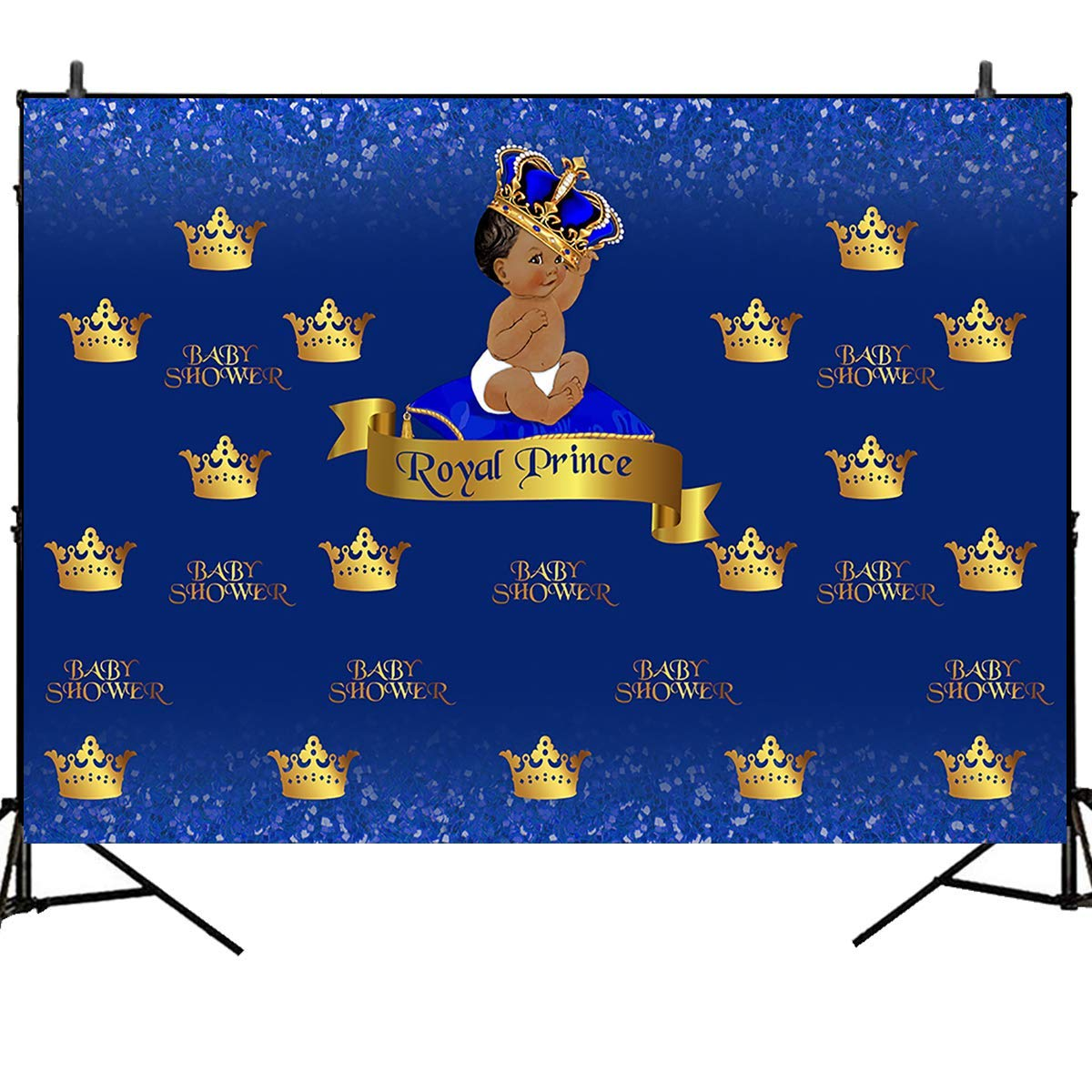 Mehofoto Royal Prince Baby Shower Backdrop Crowned Little Boy Photography Background 7x5ft Step and Repeat Vinyl Photo Background for Newborn