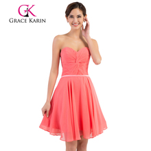 Grace Karin Strapless Chiffon Simple Short Watermelon Pink Prom Dress Patterns CL6297