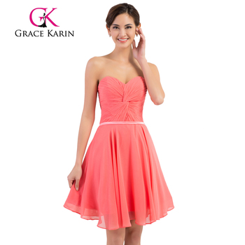 Grace Karin Strapless Chiffon Simple Short Watermelon Pink Prom ...