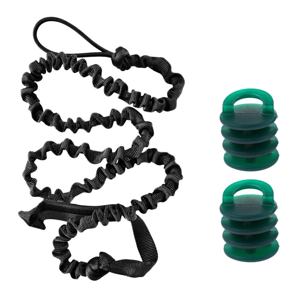Jili Online 2× Portable Nylon Kayak Boat Universal Scupper Drain Holes Plugs + 2M Kayak Paddle Leash Fishing Rod Coil Tether Surf Ski Board Coiled Lanyard