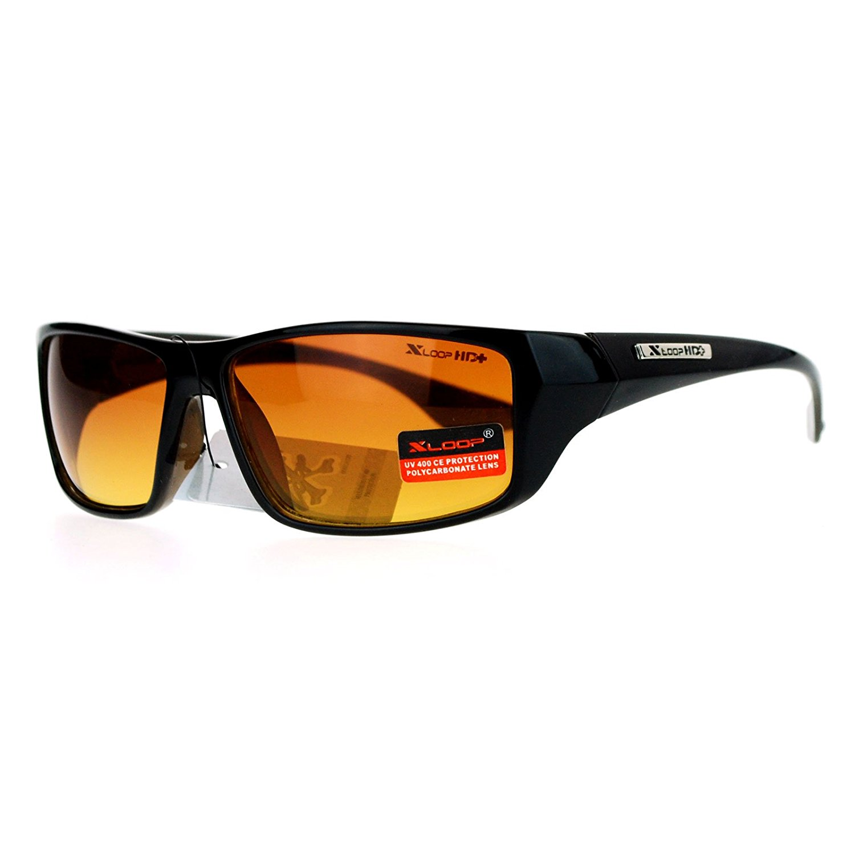 0712dc264b5 Get Quotations · X-Loop Large HD Vision Eyewear Half Frame Sports Wrap  Sunglasses w Amber Lens