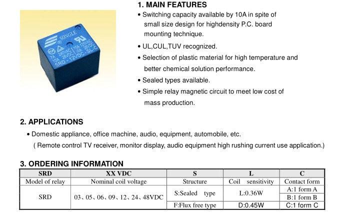SRD-12VDC-SL-A 5V 12V 24V DC power Relay T73-12V SRD-05VDC-SL-A SRD-24VDC-SL-A 4pins SRD-12VDC-SL-C  5pins