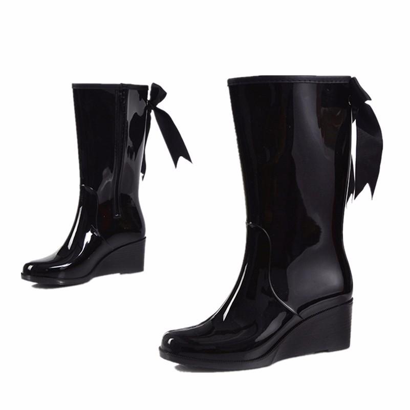 3cebbc2fa6d6 Wholesale Long Barreled Zipper Type Women S Mid Calf Wedge Rain ...