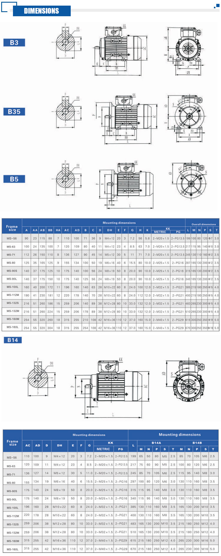 Ac Three-Phase Aluminum Shell Asynchronous Motor