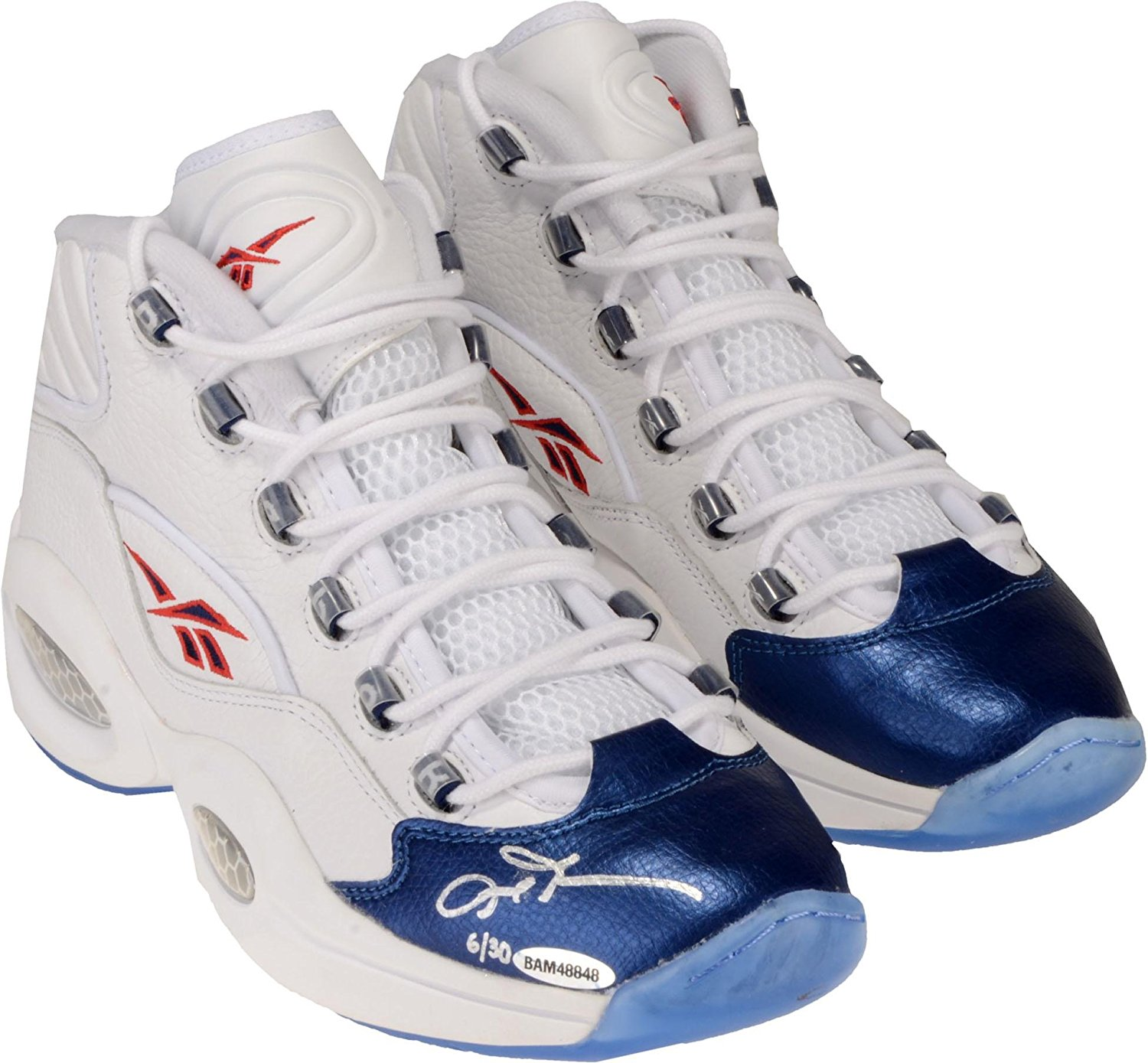 Get Quotations · Allen Iverson Philadelphia 76ers Autographed White   Blue Reebok  Question Sneakers - Limited Edition of 30 806304a86