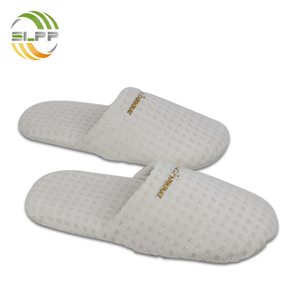 Thick sole embroidered waffle velvet sponge slippers