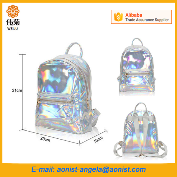 Hot Women Hologram Holographic PVC Silver Laser Leather School Backpack Travel Casual Satchel Bag