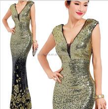 LYYS1668 Women's Sexy Long Deep V-Neck Sequin Evening Dress