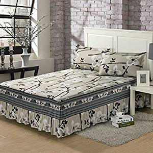 cotton bed skirt with pillowcases bed spread bedclothes for all bed size twin full queen king size for girl's room (King size, grey)
