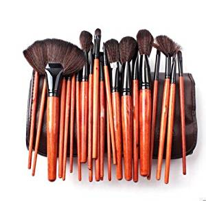 Megaga Makeup Brushes-Studio Quality Natural Cosmetic Brush Set with Leather Pouch, 24pcs makeup brushes set (Brown)