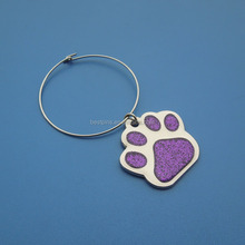 dog paw custom powder wine glass charm rings