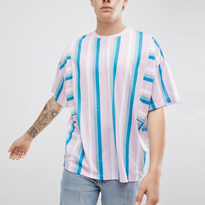 China factory wholesale pastel stripe short sleeve men tee shirt oversize