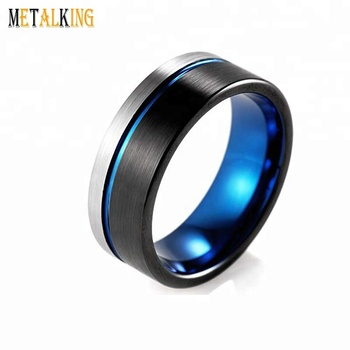 Black Blue Tungsten Carbide Ring Two Tone Mens Wedding Band 8mm Flat
