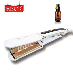 ENZO custom white fast hair styling tool dual voltage keratin treatment ultrasonic infrared cold plate hair straightener iron