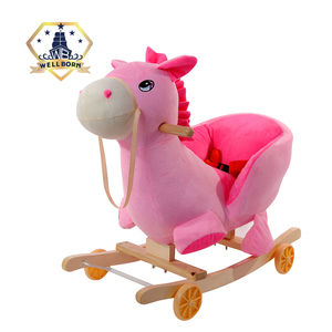 Wood pink indoor and garden kids plastic rocking horse