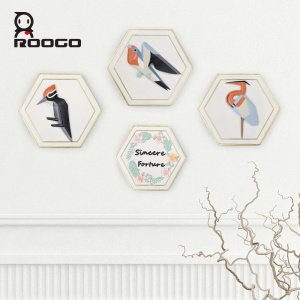 ROOGO Modern Contemporary Geometric Resin Birds Wall Hanging Living Room Interior Decoration