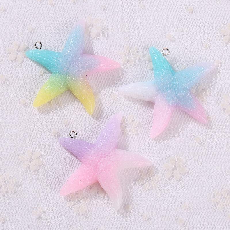 Hot 19mm Flat Back Resin Starfish Plastic Craft Scrapbook Mixed Color 50Pcs