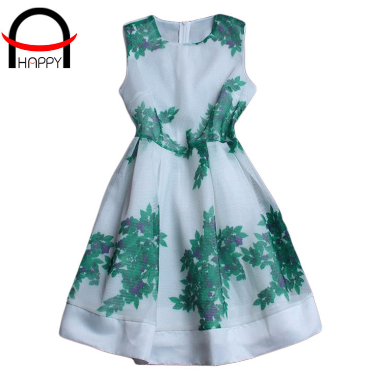 2015 New Arrival Summer vestido Casual 70% Polyester Print Green leaf Sleeveless O-Neck Slim Women Ball Gown Dress WD346