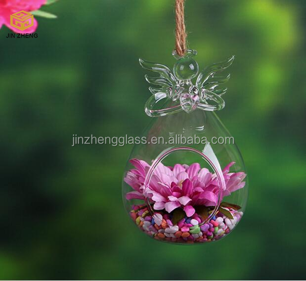Angel Clear Glass Wall Hanging Vase Bottle for Plant Flower Decorations