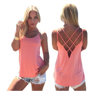 Women's Solid Hollow Out Criss Cross Back Tank Tops Loose Hollow Out Camisole Shirt New Sleeveless Spaghetti Strap cami tops