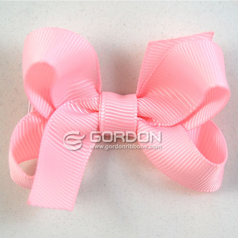 "Light Pink Hair Bow,2- 1/2"" Hair Bow on Alligator Pinch Clip"