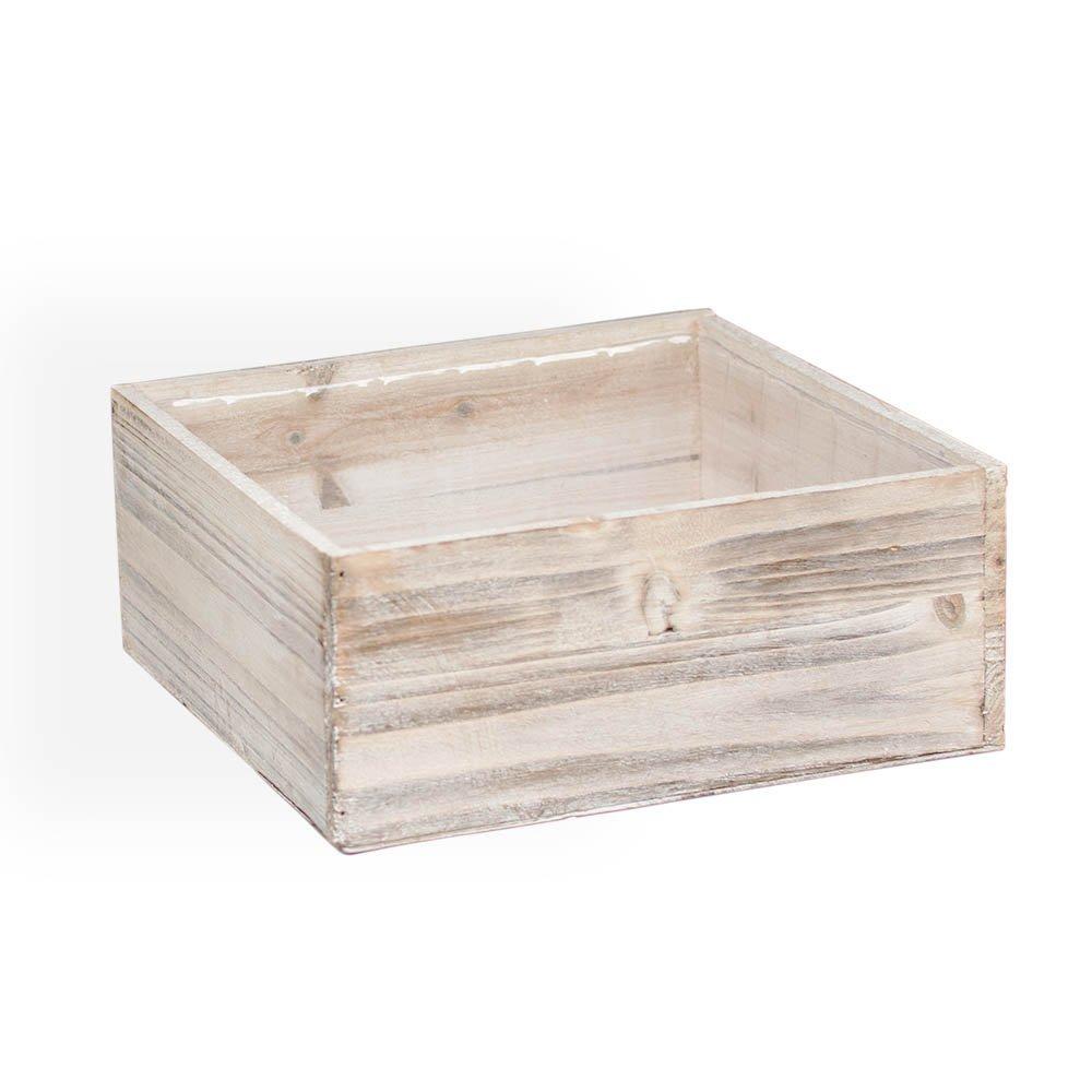 Buy Planter Box, Rustic Barn Wood, Plastic Liner, Square, 9.25 Inch ...