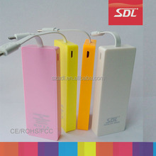 Factory Mini 2800mah power bank with fixed cable for Iphone samsung silm portable charger,mobile power source better gift
