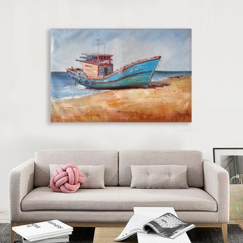 El Boyalı Soyut Korsan Gemisi Ve Deniz Manzara Yağlıboya Duvar Dekor