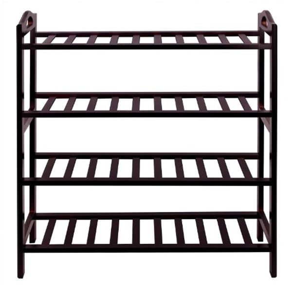 High quality wooden furniture middle KD storage shoe 4 shelves portable wood storage shoe rack for living room