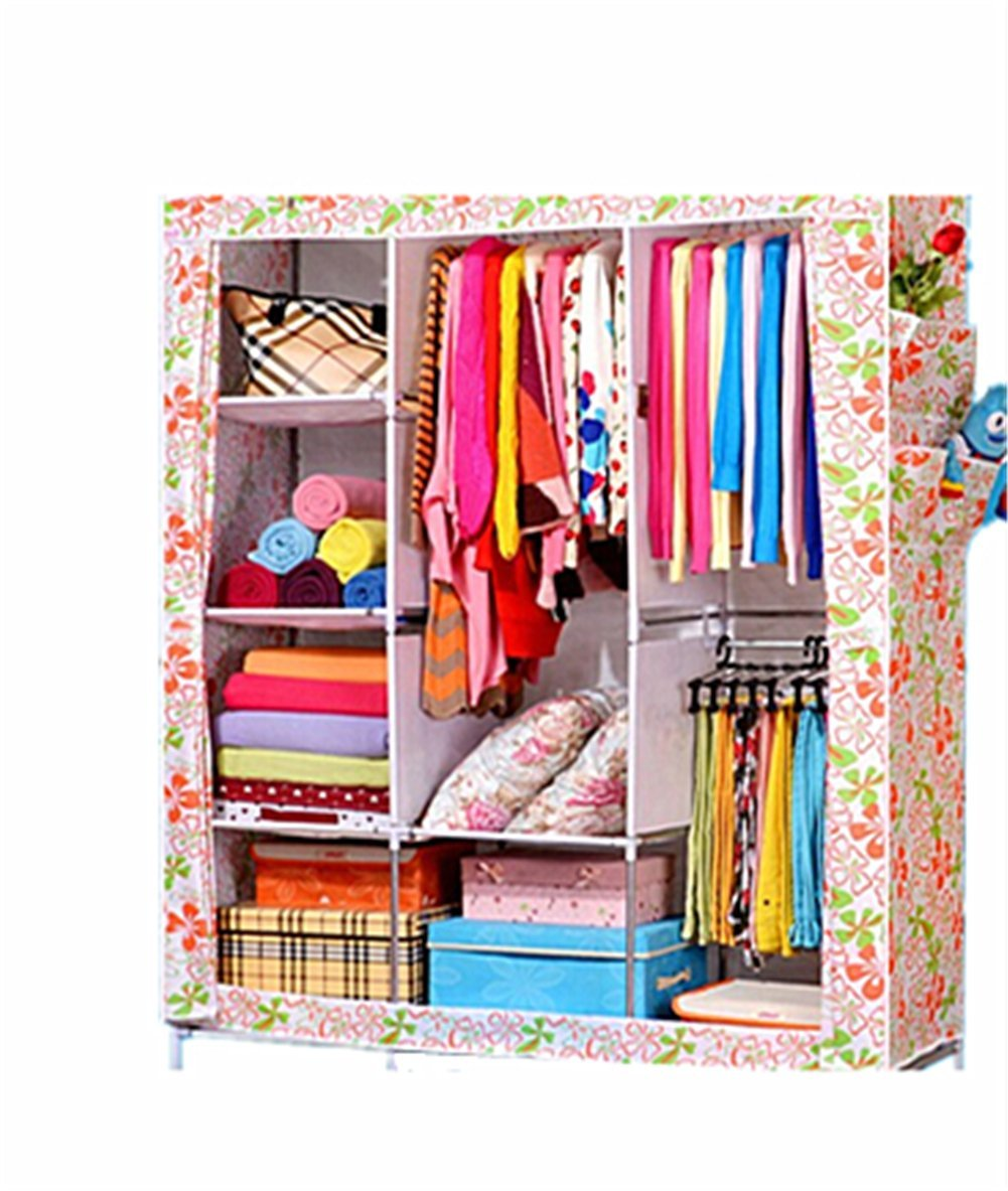 XSH Simple Wardrobe, Large Wardrobe, Large Capacity Wardrobe, Non-woven Fabrics Folding Wardrobe, Wardrobe, Wardrobe Closet Dustproof, Anti Mildew (White)