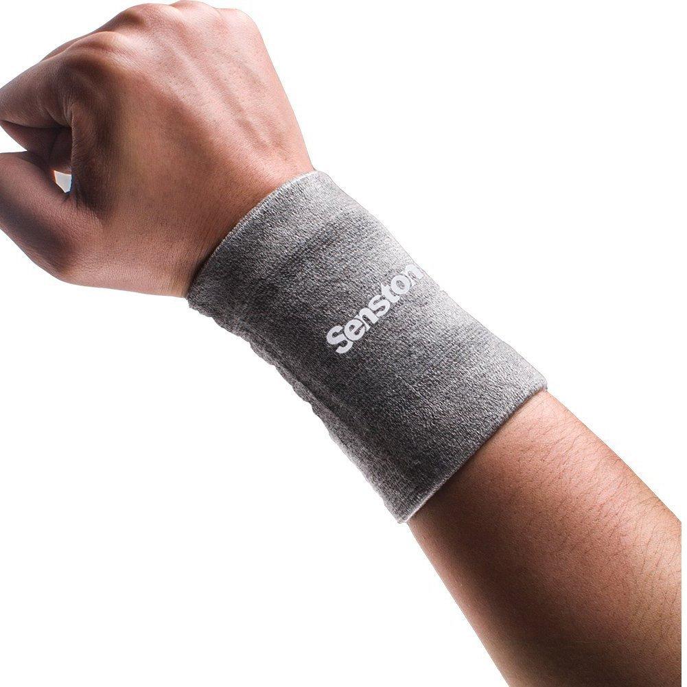 Senston Men Wristbands Wrist Sweatband Fitness Compression Sweat Band brace Sports Wristbands Tennis Armbands Basketball Wrist Support,Black/Gray