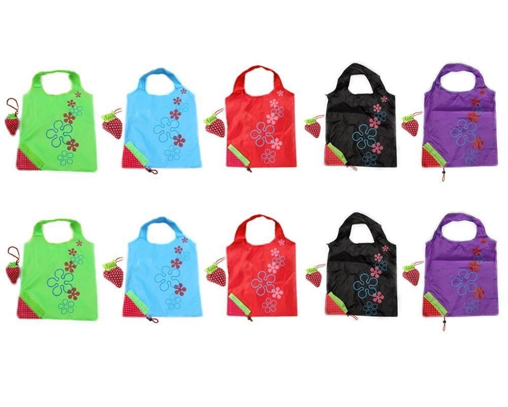 10 Assorted Colors strawberry Reusable Foldable Shopping ECO Bags pouch shoulder Tote