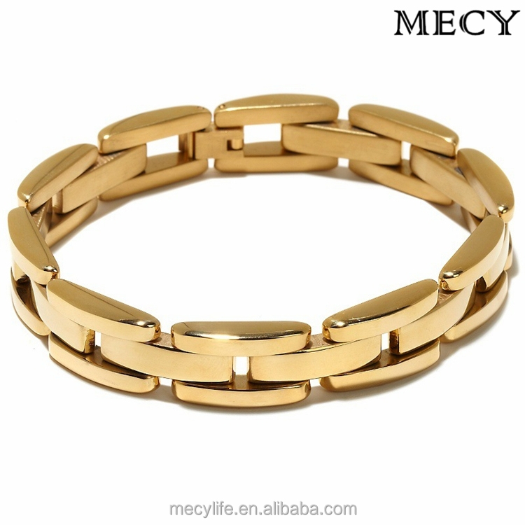 Mecylife Stainless Steel Jewelry Men Gold Bracelet Slave