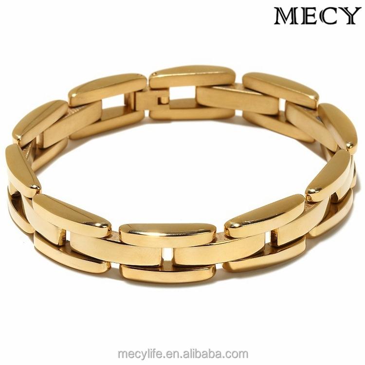 Mecylife Stainless Steel Jewelry Men Gold Bracelet Slave Bracelet ...