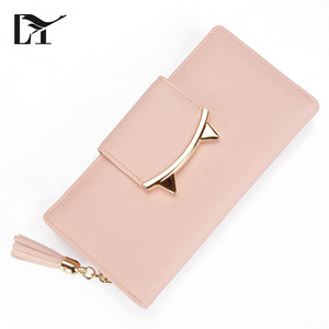 Fancy Model Long Purse Cat Pink PU Leather Credit Card Wallet For Girls