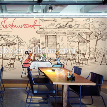Custom Hand Painted Street Corner Scenery Mural Cafe Lounge Restaurant Dessert Wallpaper