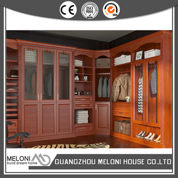 Red Color Shaker Door Wood Walk In Closet Cabinets Export To Ghana