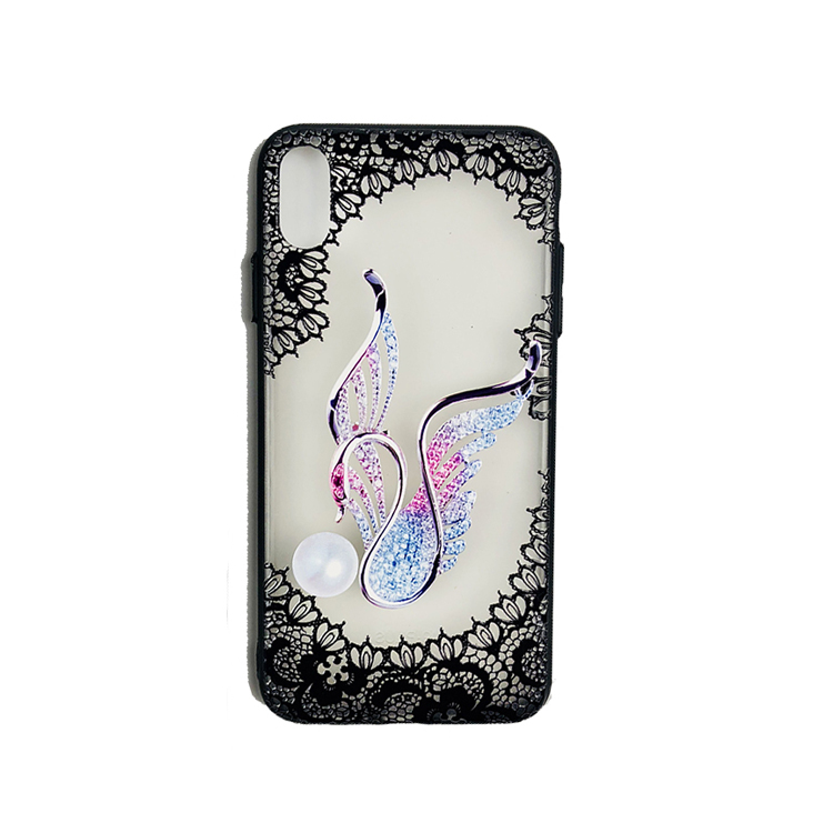 New arrival lace custom printing case 2 in 1case mobile phone cover  lace flower tpu and pc case for woman